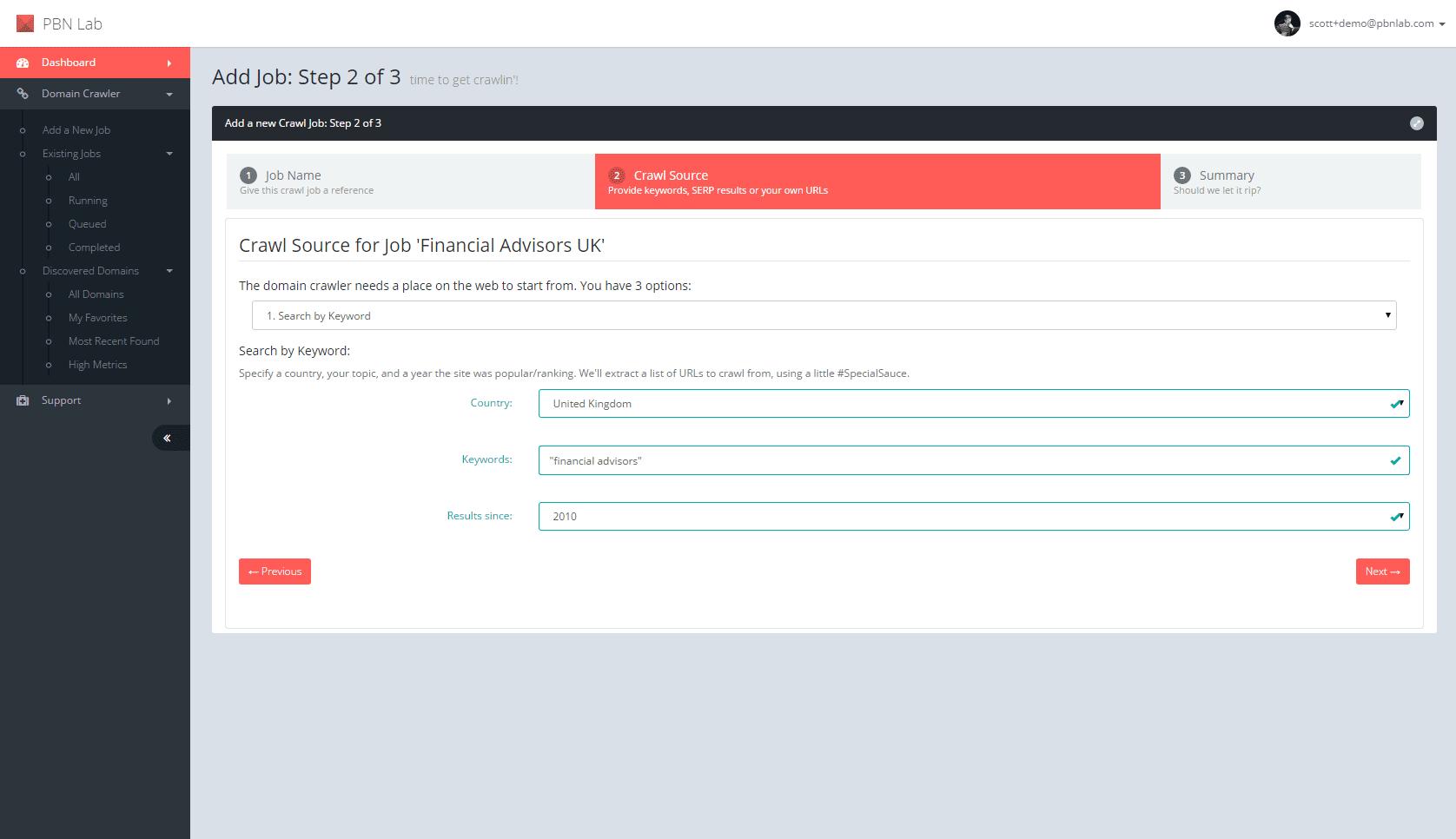 PBN-Lab-Expired-Domain-Crawler_2_Add-Job-Wizard